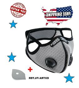 Cycling Face Mask with Activated Carbon Filter Dual Valves S