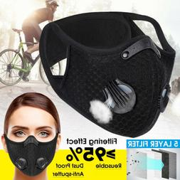 Cycling Sport Face Masks With Breathing Valves 3/4/5 Layer F