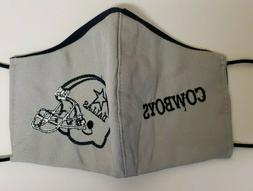 DALLAS COWBOYS FABRIC WASHABLE BROIDERED  LOGO FACE MASK UN