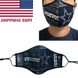 PACK OF 2 Dallas Cowboys Football Quality Fabric Face Mask