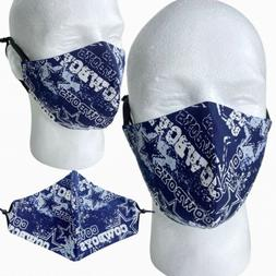 Dallas Cowboys Face Mask Football Washable Reusable Adjustab