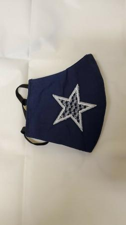 DALLAS COWBOYS HANDMADE WASHABLE FABRIC FACE MASK BROIDERED