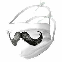 Designer Face Mask Filter Pocket * MOUSTACHE * EU made +OPTI