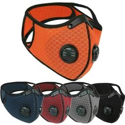 Dual Valve Breathable Mesh Sport Face Mask With Neck Strap &