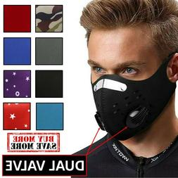 Dual Valve Neoprene Sports Face Mask With Neck Strap & PM2.5