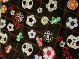 Fabric for Sewing Crafts Quilt Mask SCRAP SOCCER BALLS SPORT