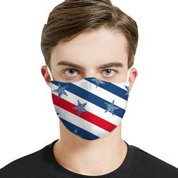 Face Mask Cotton Print USA Flag w/ Filter Pocket Reusable &