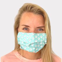 FACE MASK Cotton Reusable Face Women Adults Sky Blue Flowers