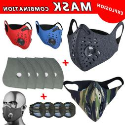 Face Mask Mouth Cover Set W/Valves& Replaceable Sport Filter