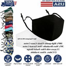 Face Mask Reusable Washable S/M/L/XL Adjustable 3D 100% Cott