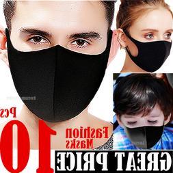10 Black Women Men Unisex Face Masks Cloth Cover Fashion Mas