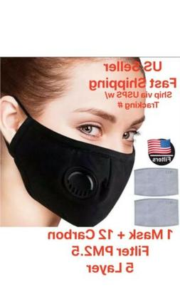 Face Mask Washable Breathable Valve 12 Carbon Filter 5 Layer