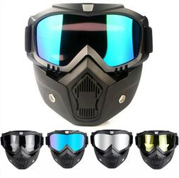 Face Mask with 2 Detachable Goggles for Motorcycle and Outdo