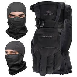 Fleece Thermal Balaclava Ski Gloves Neck Warmer Hat Beanie C