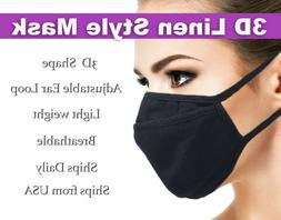 Free shipping - 3D Solid Black Cotton Washable Face Mask Reu