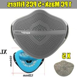 Gary Face Mask With 5X Filters Gasket Pads Safety Separate M