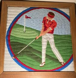 Golfer stiched with yarn - Colorful - Detailed Art and Craft