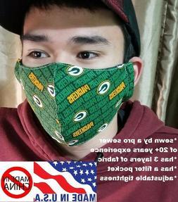 Green Bay Packers face mask - filter pocket - adjustable tig