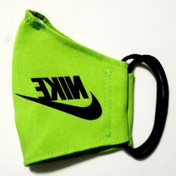 Green Nike Face Mask Fabric Washable, Reusable Handmade Made