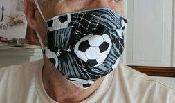 Hand Made Reversible Soccer Themed Face Mask