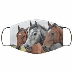 Horses Art Print Face Mask, Washable, Reusable Cotton Unisex
