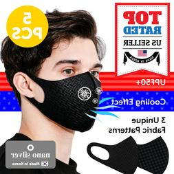 ICE COOLING Triple-Layer Black Face Mask Nano Silver, Washab