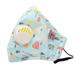 Kids Child Toddler Reusable Cloth Face Mask with Pocket Valv