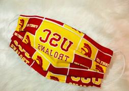 Kids USC Trojans Face Mask Cotton Dual Layer Handmade Washab