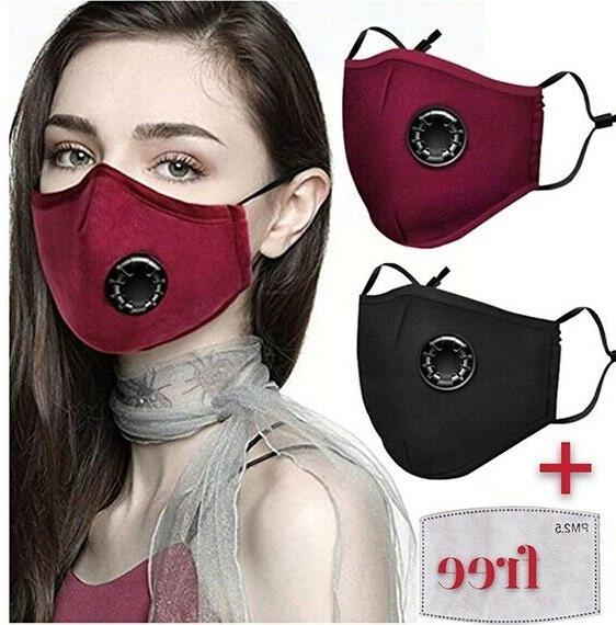 100% Cotton Face Mask Air Valve Reusable Fashion 2.5