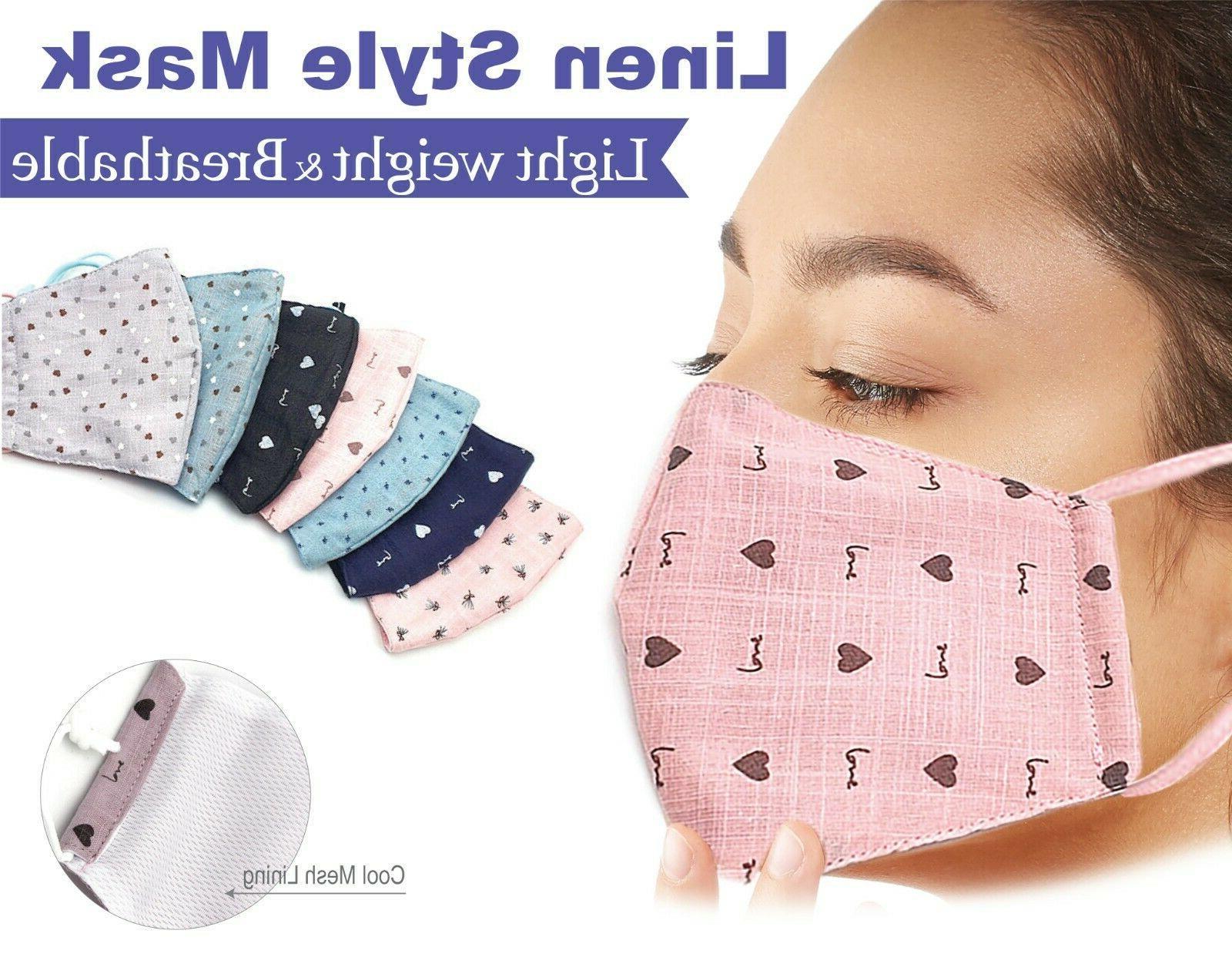 2packs linen style face mask cute pattern