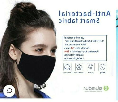 3 black reusable safety cotton mask anti