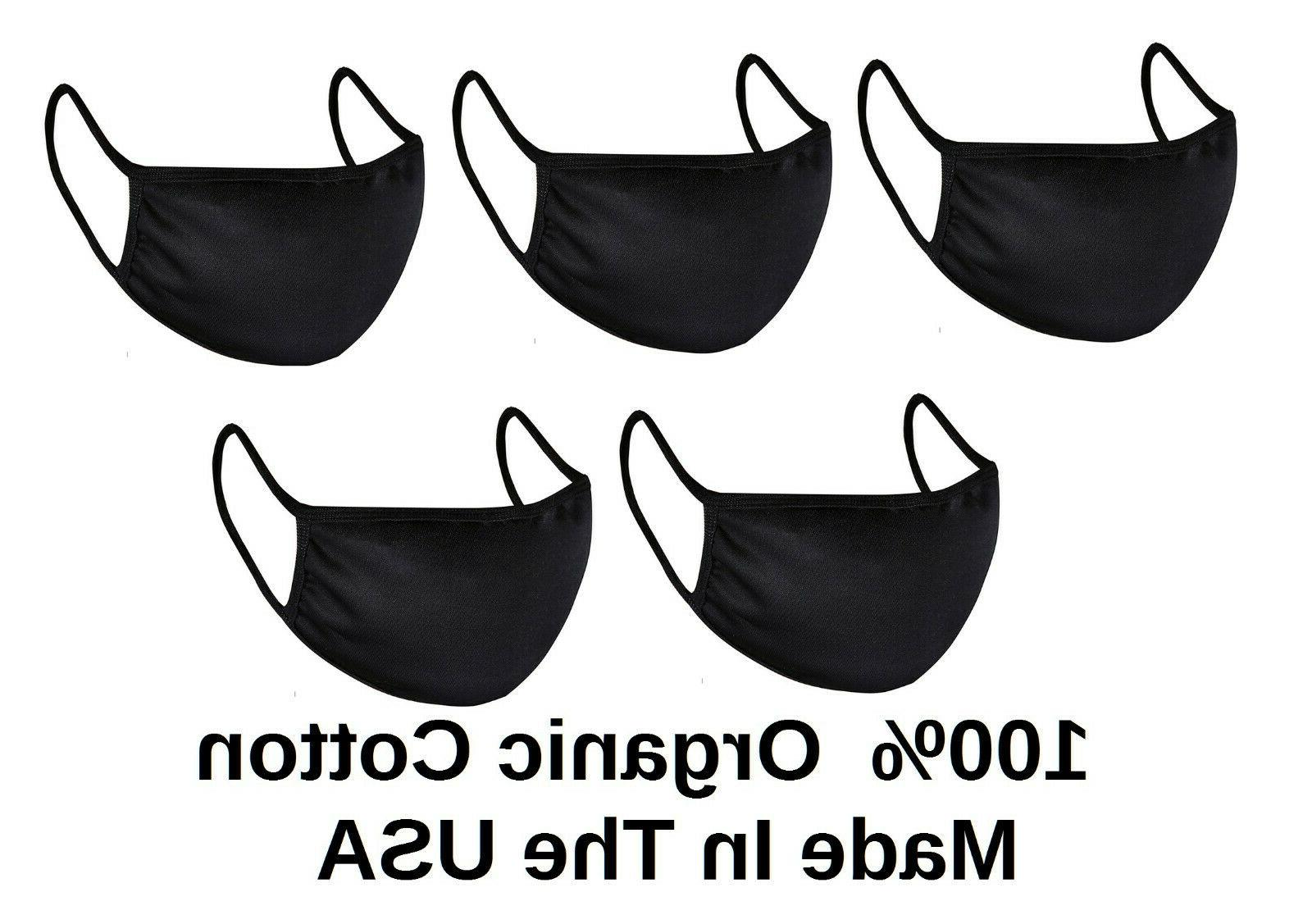 5x kids youth black face mask reusable
