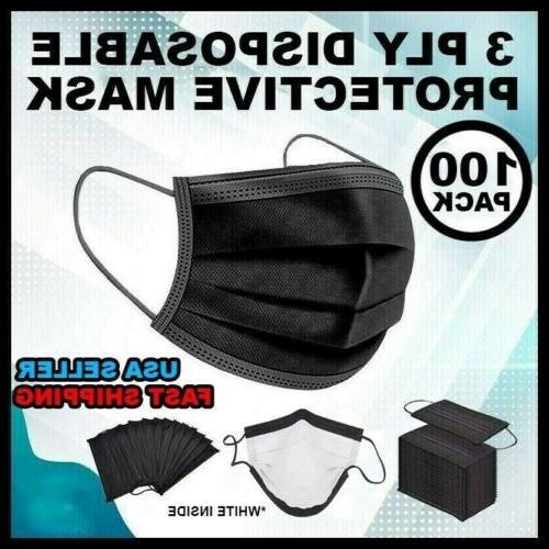 50 100 pcs black face mask mouth