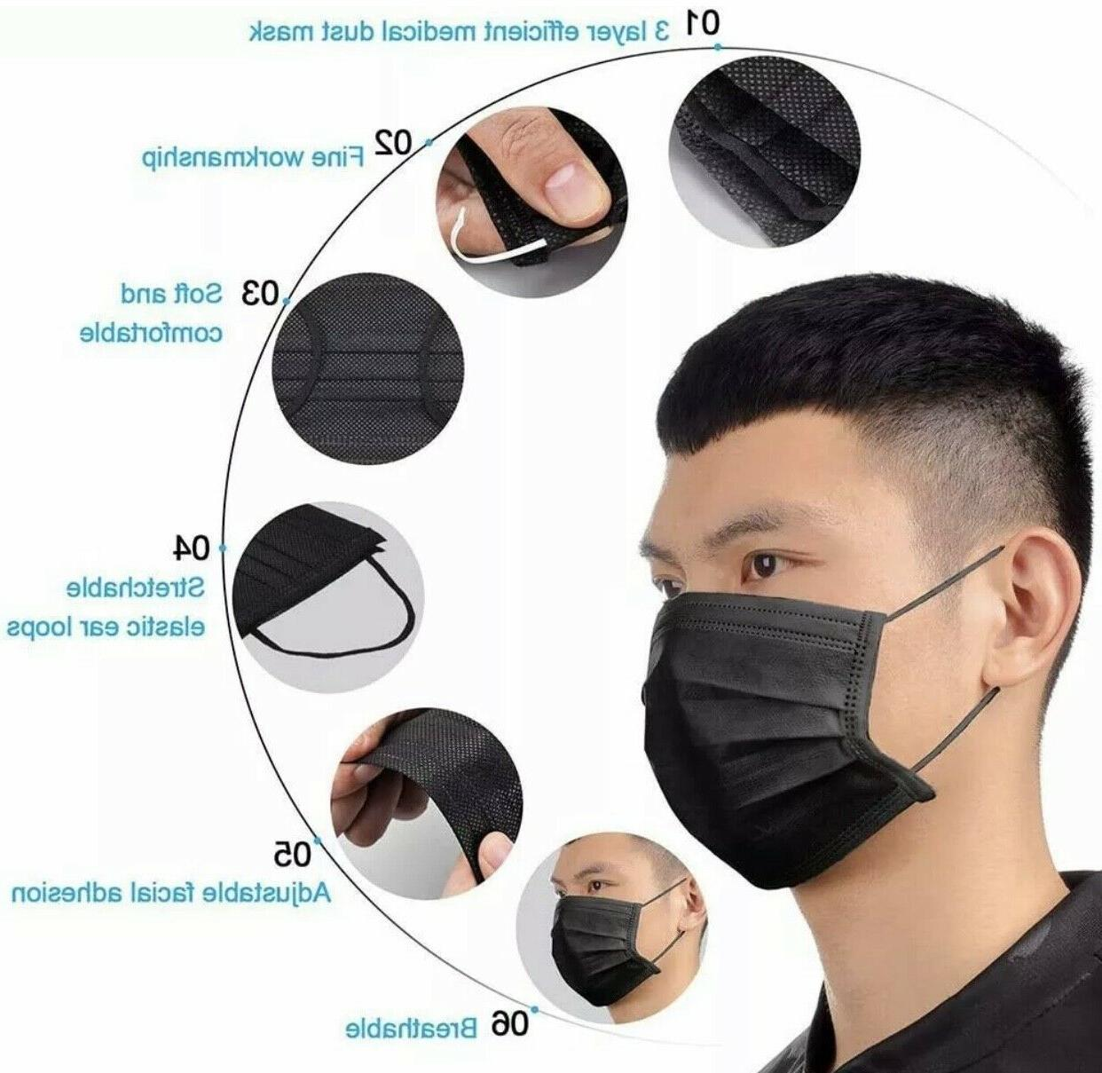 50/100 Black Face Mask & Protector Masks Seller