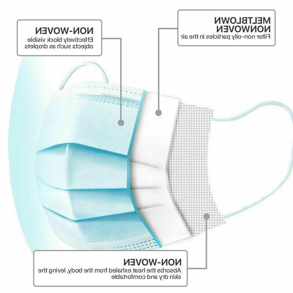 50 PCS Mask Mouth Nose Respirator Masks Filter Blue
