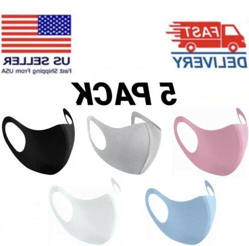 5pcs face mask reusable washable breathable adult