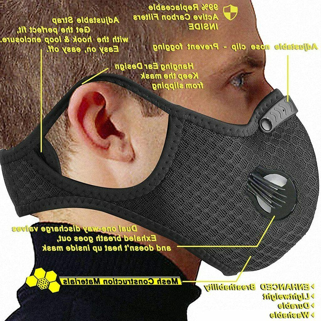 Air Reusable Face Mask PM 2.5 Carbon Breathing Valves