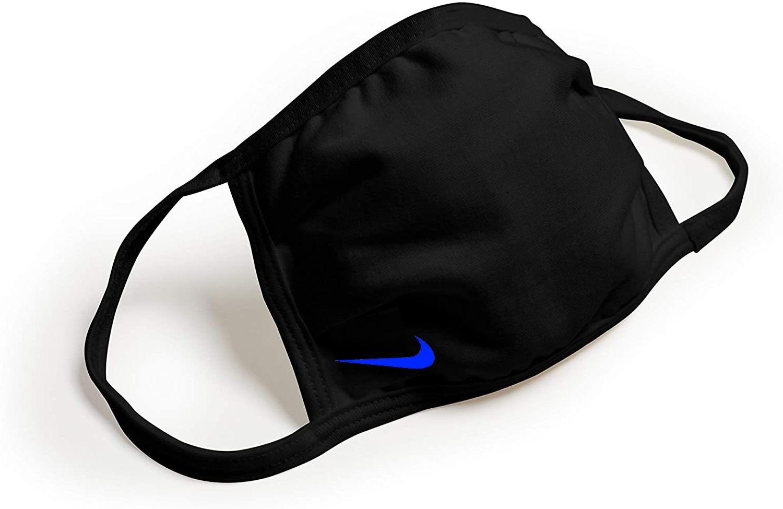 black face mask nike blue swoosh logo