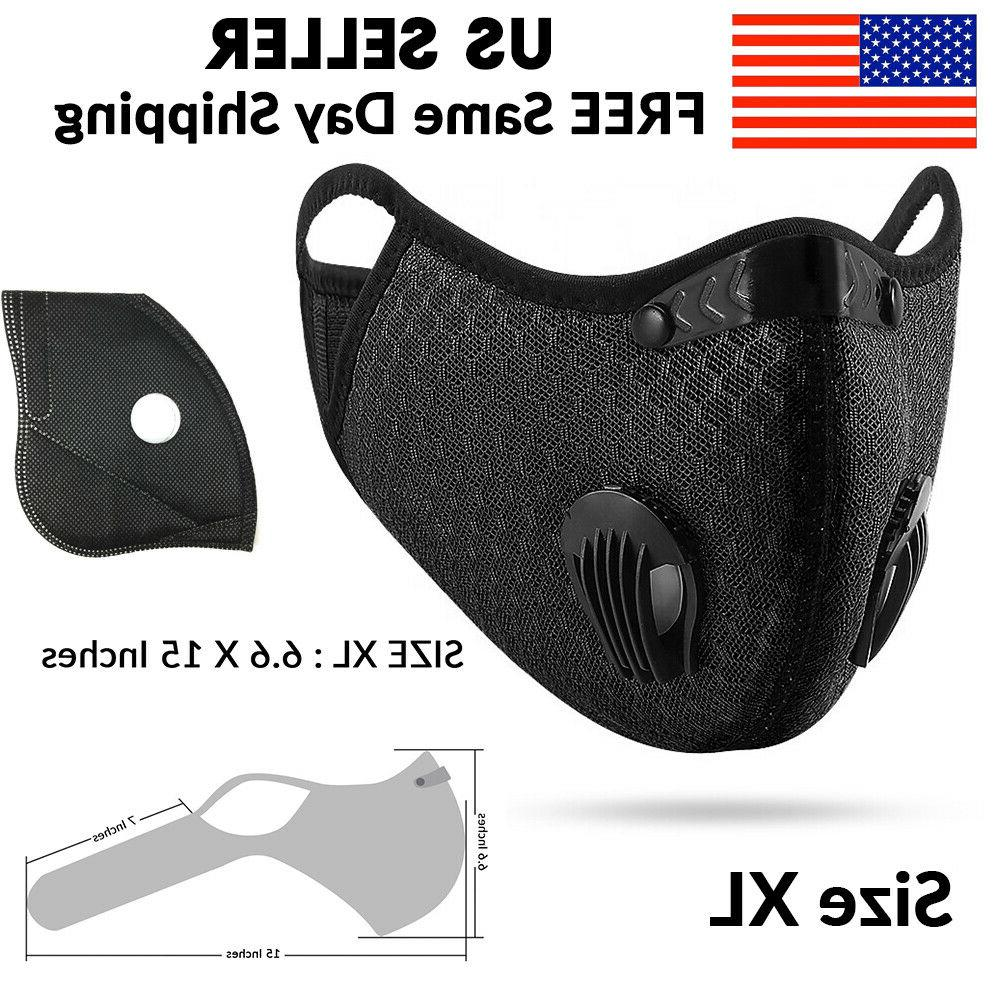 Black Reusable Air Valve Face Mask PM2.5 Carbon Filter