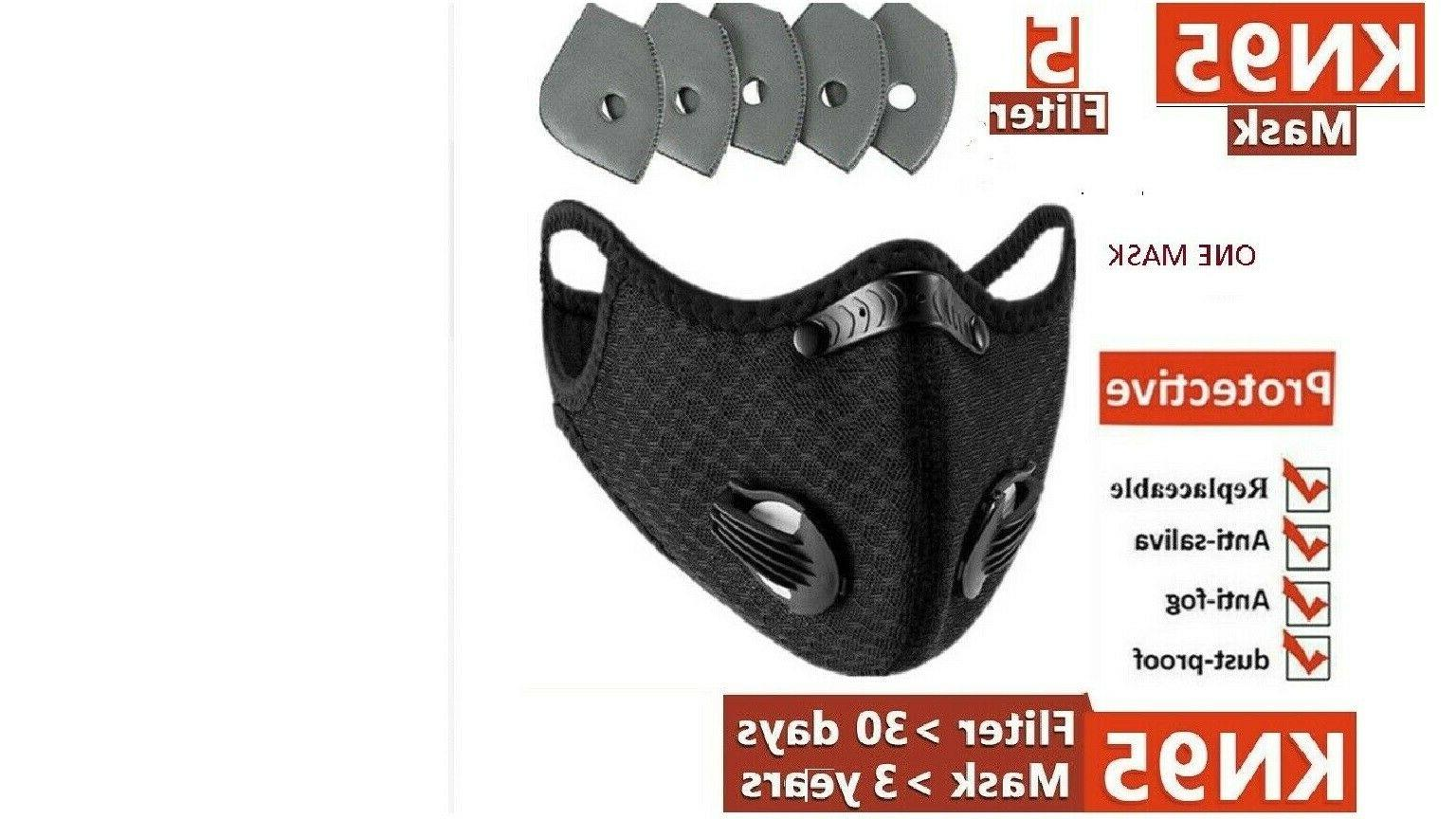 black outdoor sports face mask with 3