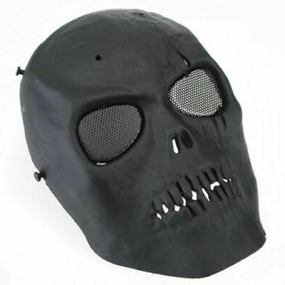 black paintball airsoft sport mask skull tactical
