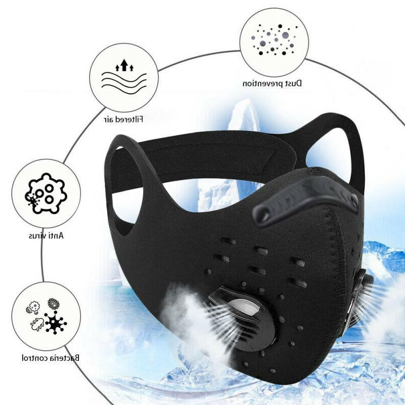 Black Valve Cycling Sport Mask PM2.5 Carbon Filter