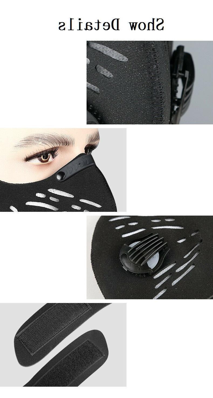 Black Reusable Dual Valve Face Mask Carbon Filter