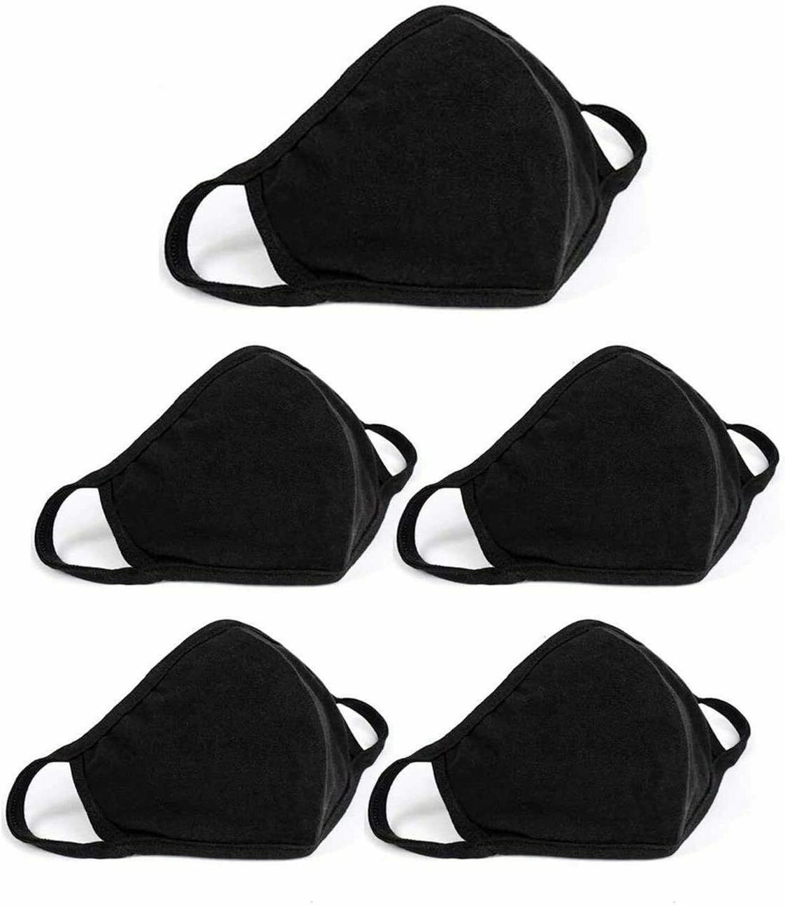 black reusable washable breathable cotton face mask