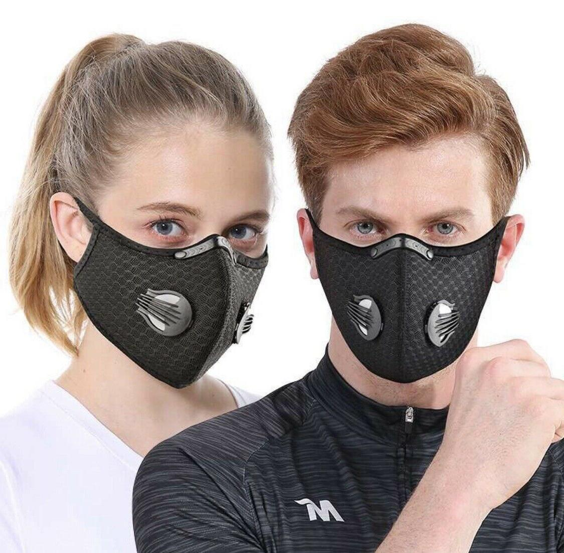 black sports bike mask reusable dual air