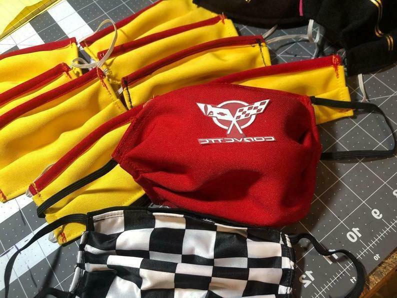 corvette car dealership red face mask sports