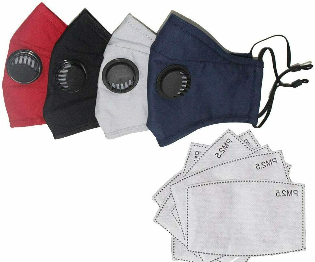 cotton face mask with 2 filters washable