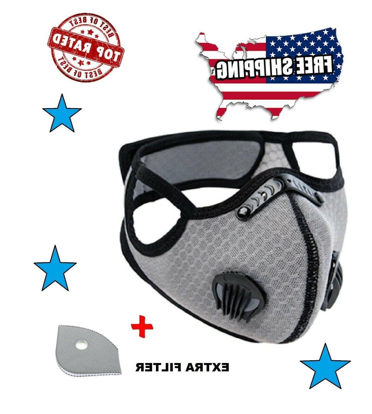 cycling face mask with activated carbon filter