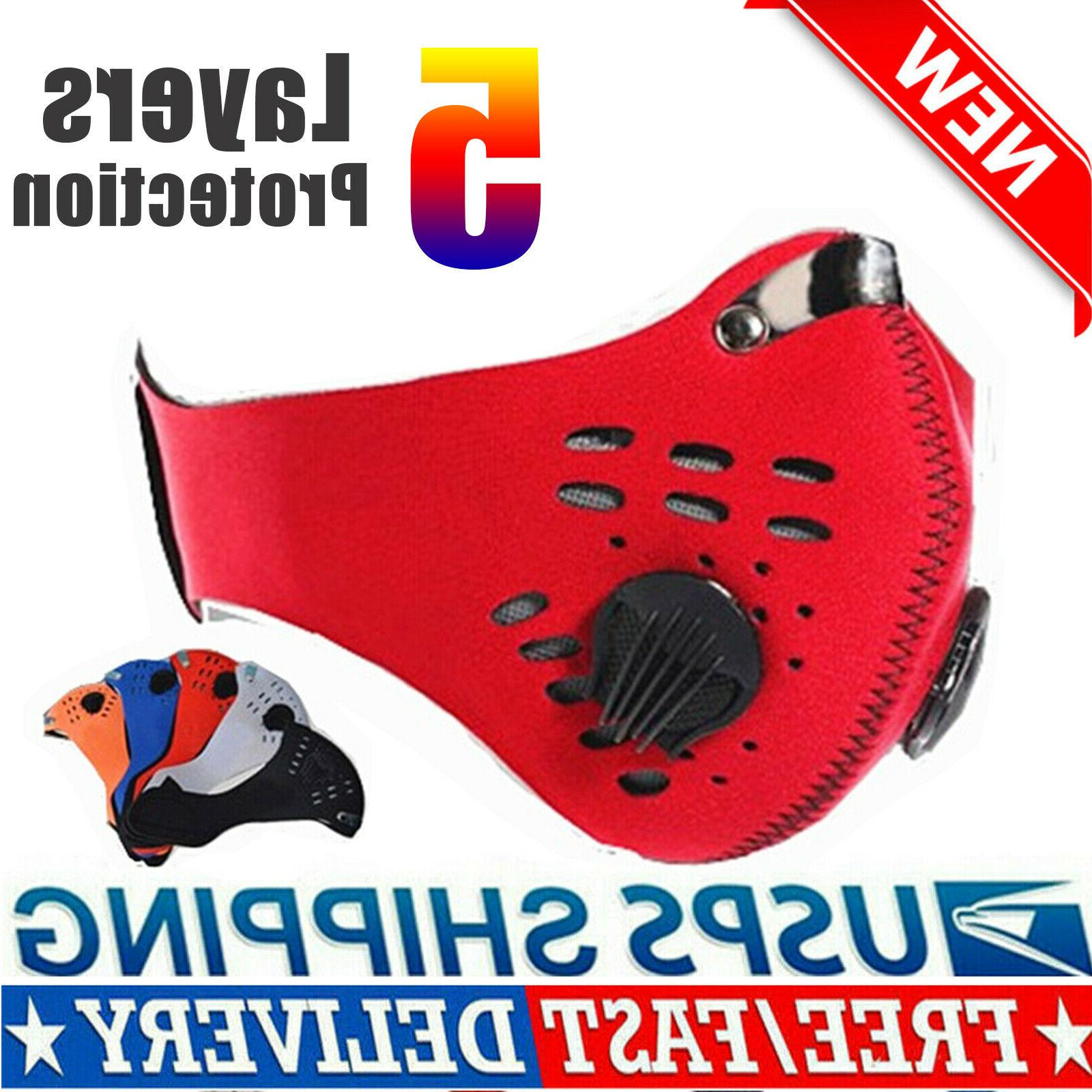 Face Mask Reusable Cycling Cover Dual Valves Washable +1 Act