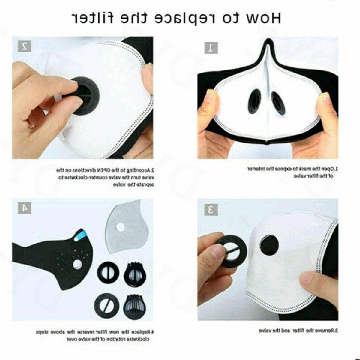 Face Reusable Cover Valves Washable +1 Carbon